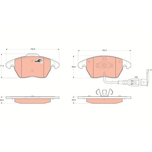 Bremsbelagsatz Scheibenbremse Trw GDB1550 Cotec für Audi Seat Skoda VW Vw (svw)