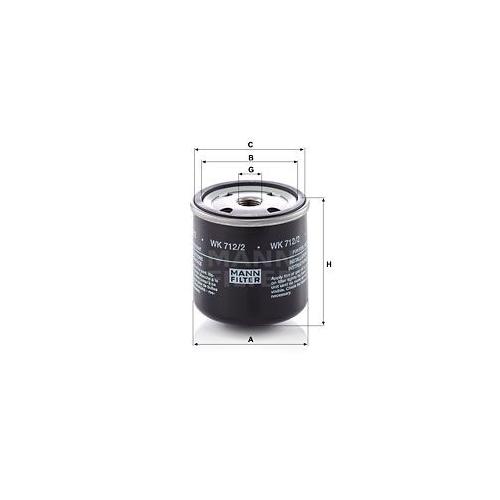 Kraftstofffilter Mann-filter WK 712/2 für Ford Iveco Volvo Agria Case Ih Mwm O&k
