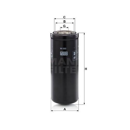 1 Filter, Arbeitshydraulik MANN-FILTER WH 980 für CASE IH HITACHI JOHN DEERE JCB