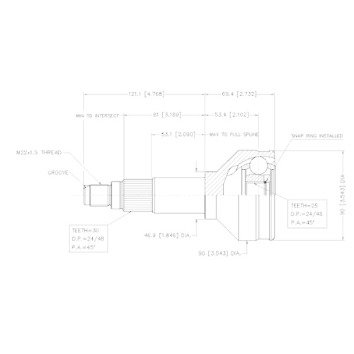 Gelenksatz, Antriebswelle VEMA 18411 für