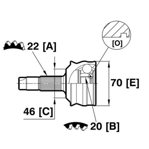 Gelenksatz, Antriebswelle VEMA 18891 für FIAT, radseitig