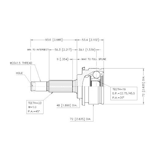 Gelenksatz, Antriebswelle VEMA 18655 für NISSAN, radseitig
