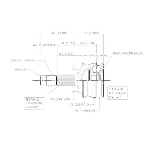 Gelenksatz, Antriebswelle VEMA 18257 für FIAT, radseitig