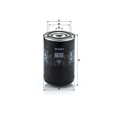 1 Filter, Arbeitshydraulik MANN-FILTER W 940/1 für ALFA ROMEO CHRYSLER CITROËN