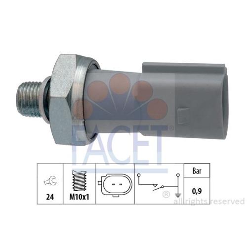 Interruttore A Pressione Olio Facet 7.0197 Made In Italy - Oe Equivalent per VW