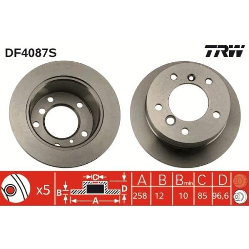 1 Bremsscheibe TRW DF4087S für AUDI MERCEDES-BENZ VW, Hinterachse