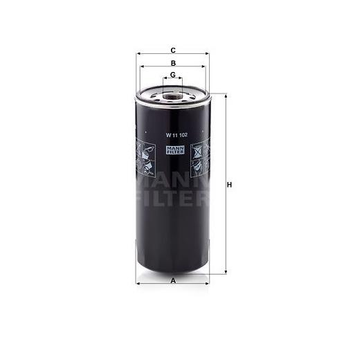 1 Filter, Arbeitshydraulik MANN-FILTER W 11 102 für DAF IVECO BOMAG MWM O & K