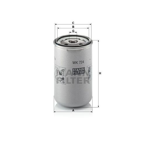 Kraftstofffilter Mann-filter WK 724 für Iveco Astra Fiat Hitachi