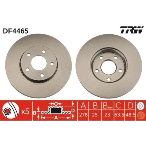 2 Bremsscheibe TRW DF4465 für FORD VOLVO FORD (CHANGAN) MAZDA (CHANGAN)