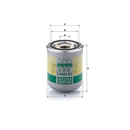 1 Lufttrocknerpatrone, Druckluftanlage MANN-FILTER TB 1394/1 x für DAF IVECO