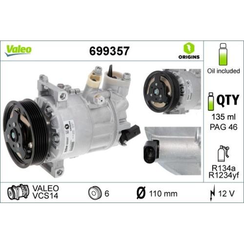 Kompressor, Klimaanlage VALEO 699357 NEW ORIGINAL PART für AUDI SEAT SKODA VW