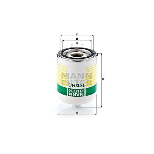 1 Lufttrocknerpatrone, Druckluftanlage MANN-FILTER TB 1374/3 x für SCANIA
