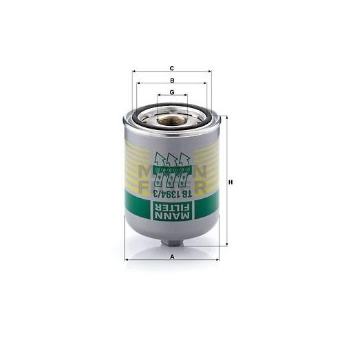 1 Lufttrocknerpatrone, Druckluftanlage MANN-FILTER TB 1394/3 x für SCANIA
