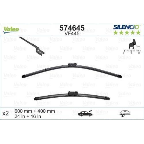 Wischblatt Valeo 574645 Silencio Flat Blade Set für Audi Citroën Fiat Ford Opel