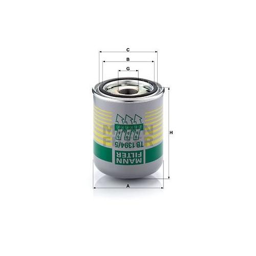 1 Lufttrocknerpatrone, Druckluftanlage MANN-FILTER TB 1394/5 x für VOLVO