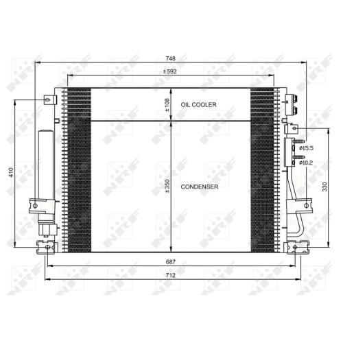 1 Kondensator, Klimaanlage NRF 35966 CHRYSLER LANCIA