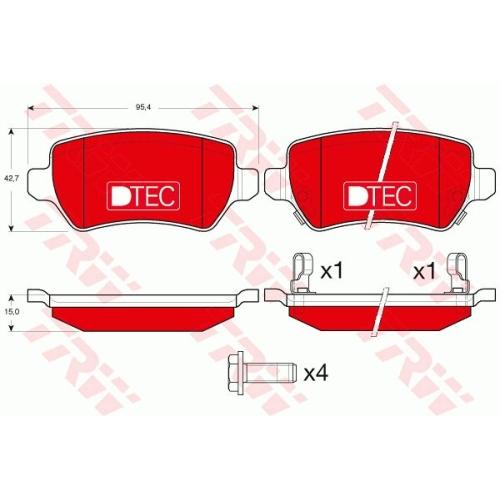 4 Bremsbelagsatz, Scheibenbremse TRW GDB1515DTE DTEC COTEC OPEL VAUXHALL KIA