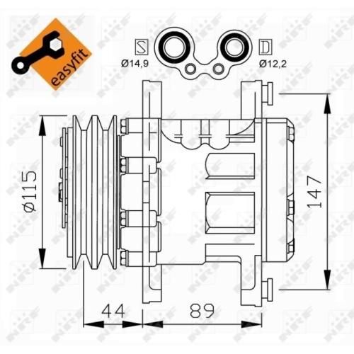 1 Kompressor, Klimaanlage NRF 32207 EASY FIT für FIAT