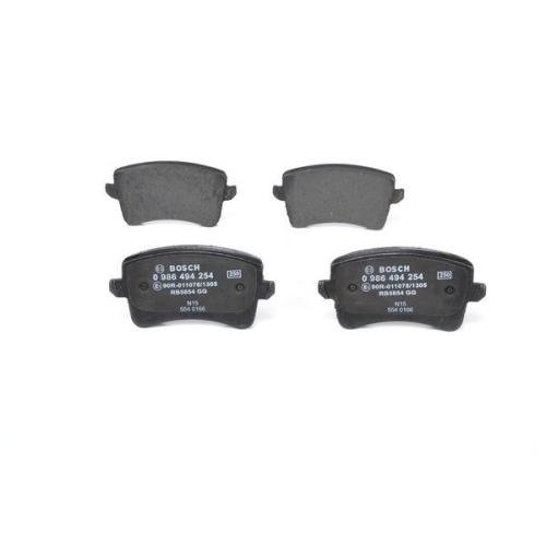4 Bremsbelagsatz, Scheibenbremse BOSCH 0986494254 für AUDI VW, Hinterachse