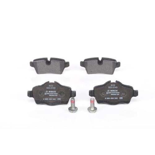 4 Bremsbelagsatz, Scheibenbremse BOSCH 0986494242 BMW MINI, Hinterachse
