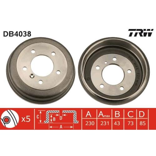 1 Bremstrommel TRW DB4038 für MERCEDES-BENZ, Hinterachse