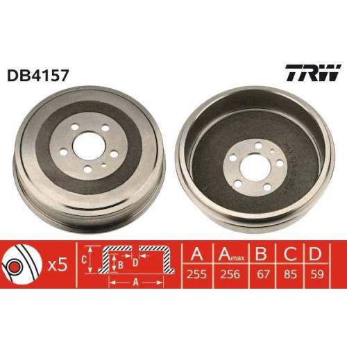 1 Bremstrommel TRW DB4157 CITROËN FIAT LANCIA PEUGEOT, Hinterachse