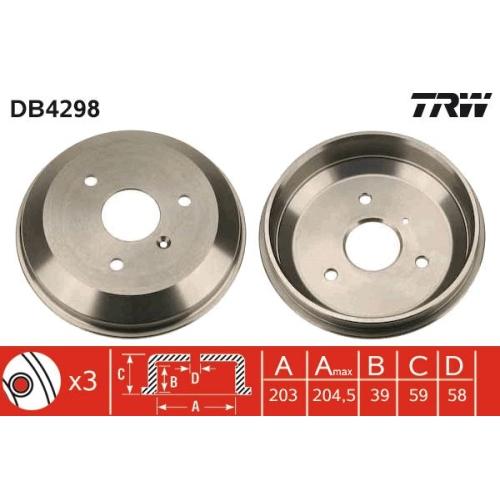 1 Bremstrommel TRW DB4298 für SMART, Hinterachse