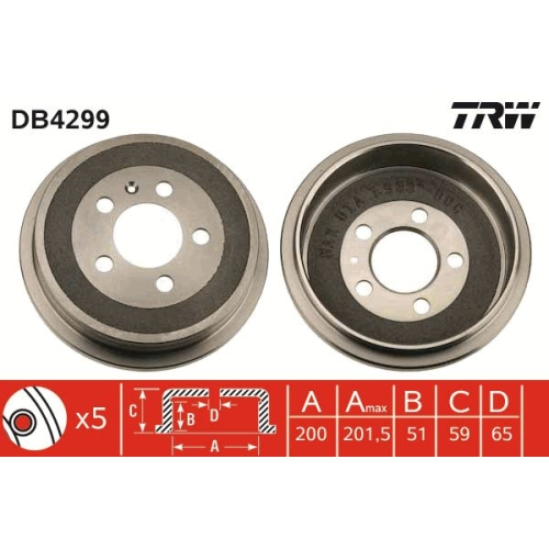 1 Bremstrommel TRW DB4299 für AUDI SEAT SKODA VW VW (SVW) SKODA (SVW)