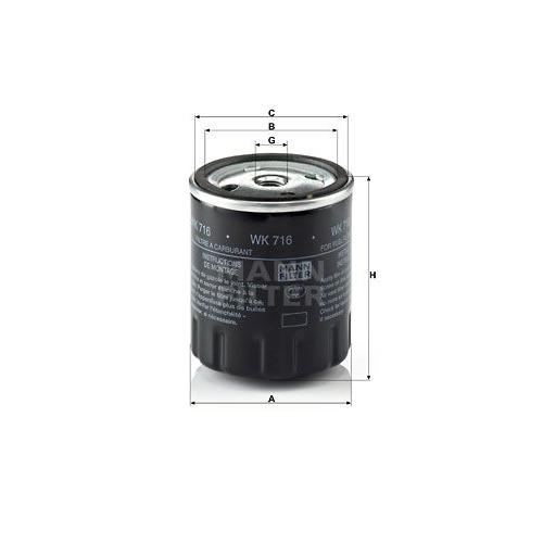 1 Kraftstofffilter MANN-FILTER WK 716 für FORD HANOMAG HENSCHEL MERCEDES-BENZ