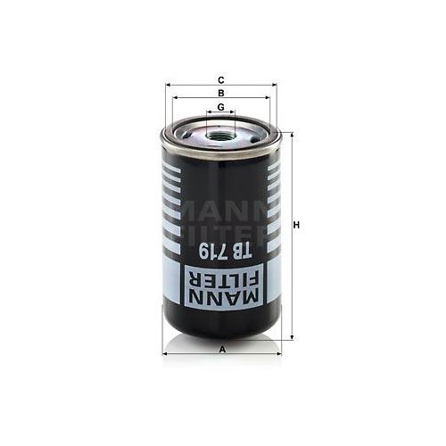 1 Lufttrocknerpatrone, Druckluftanlage MANN-FILTER TB 719 für MERCEDES-BENZ