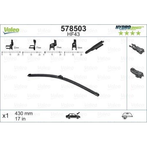 Wischblatt Valeo 578503 Hydroconnect für Bmw Ford Peugeot Beifahrerseitig