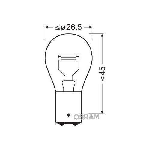 1 Glühlampe, Blinkleuchte OSRAM 7537 ORIGINAL für, hinten, oben, vorne