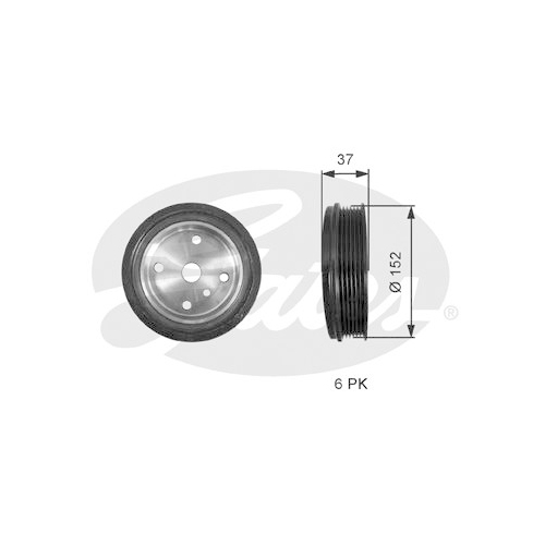 Riemenscheibe Kurbelwelle Gates TVD1137 Drivealign® für Volvo