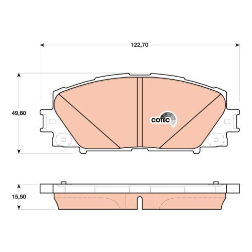 Bremsbelagsatz Scheibenbremse Trw GDB4173 Cotec für Toyota Lexus Vorderachse