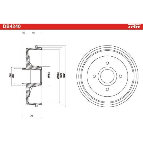 1 Bremstrommel TRW DB4340 NISSAN, Hinterachse